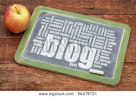 internet concept - blog word cloud on a slate blackboard with a chalk and apple