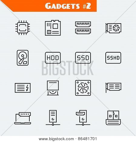 Computer Components Icon Set