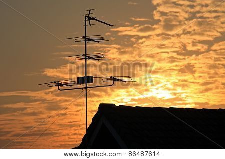Old Television Antenna (fishbone)  Against Sunrise