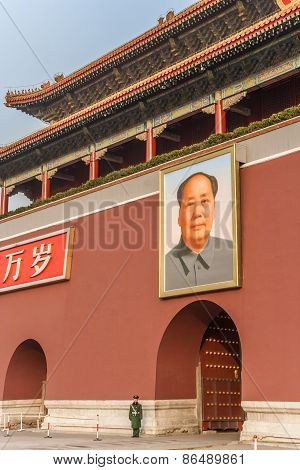 Portrait Of Mao Zedong At The Entrance Of The Forbidden City In Beijing