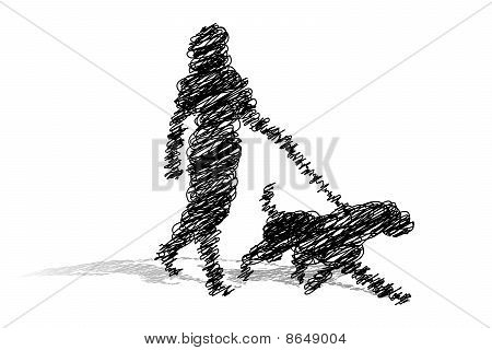 Scribble Woman Walking Dog