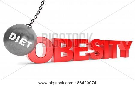Diet Destroy Obesity Concept.  Wrecking Ball As Sport With Obesity Sign
