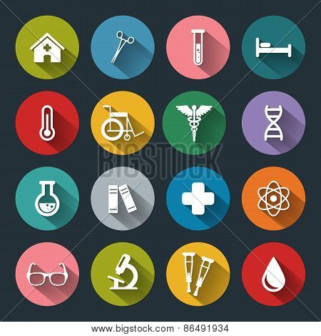 Set Of Vector Medical Icons In Flat Style With Long Shadows