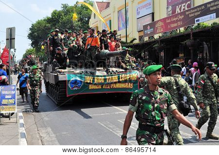 Leopard Tanks full of civilians, Yogyakarta city festival parade