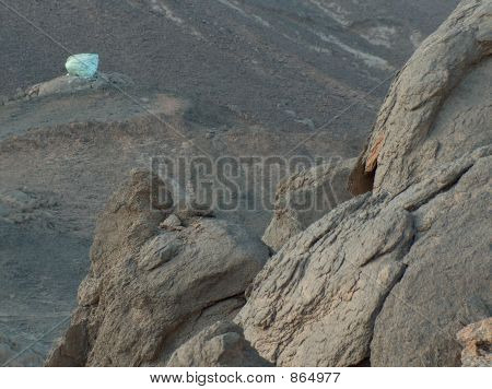 Colorful boulder in the middle of nowhere