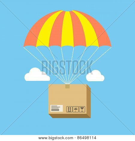 Package Flying On Parachute, Delivery Service Concept. Flat Design.