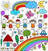 kids, clouds, sun, rainbow.., child like drawings elements set poster
