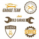 Set of logo and logotype element for mechanic, garage, car repair and auto service poster