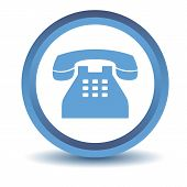 Blue Telephone icon on a white background. Vector illustration poster