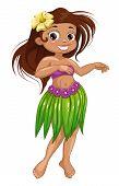 Cute cartoon dancing Hawaiian girl. Isolated vector illustration poster