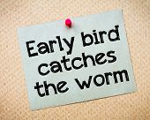 Early bird catches the worm Message. Recycled paper note pinned on cork board. Concept Image poster