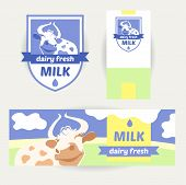 Fresh farm products. Happy cow on meadow. Editable banner. Rustic natural products. Agricultural.A set of promotional items for dairy products. poster