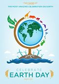 Earth Day Celebration Poster Design Template with Animals Roaming Around a Globe themed Tree. Also are Renewable Energy and Ocean icons and Sample Texts. Editable EPS10 vector and large jpg. poster