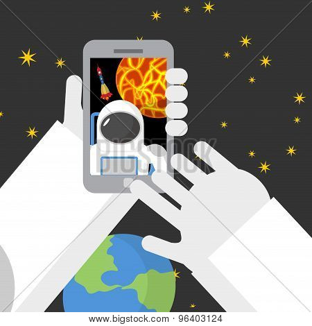 Selfie In Space. Astronaut Photographed Myself On Phone Against Backdrop Of A Rocket. Vector Illustr
