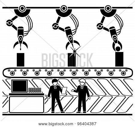 Robotic production conveyor line