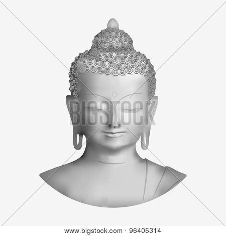 Vector Buddha face isolated on white background poster