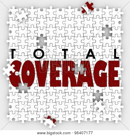Total Coverage words on puzzle pieces to illustrate gaps or holes in an insurance policy to protect your life or health poster