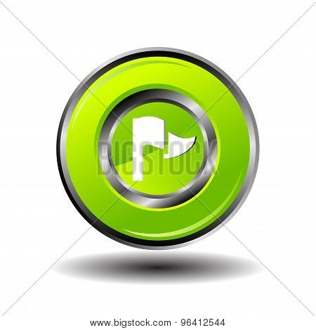 Vector illustration of flag on green button