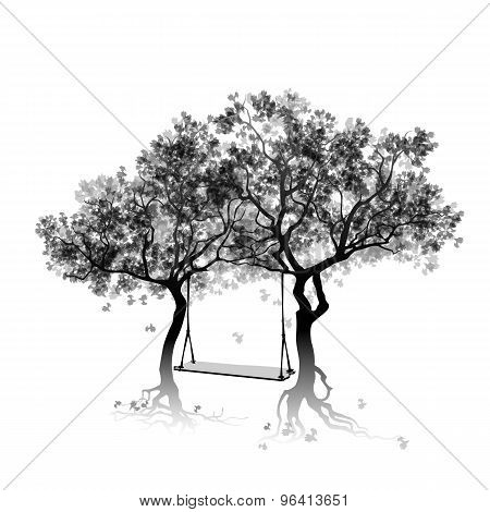 Silhouette of trees and swing between the trees. Abstract gray trees