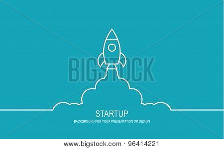 Flat design modern vector illustration concept of new business project startup development and launch a new innovation product on a market poster