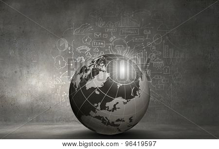 Abstract hitech digital background image with globe