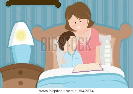 Mother And Son Reading Bedtime Story