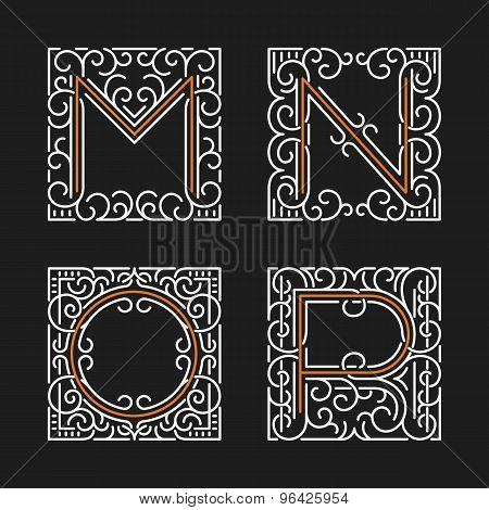 The set of stylish monogram emblem templates. Letters M, N, O, P. Vector illustration.