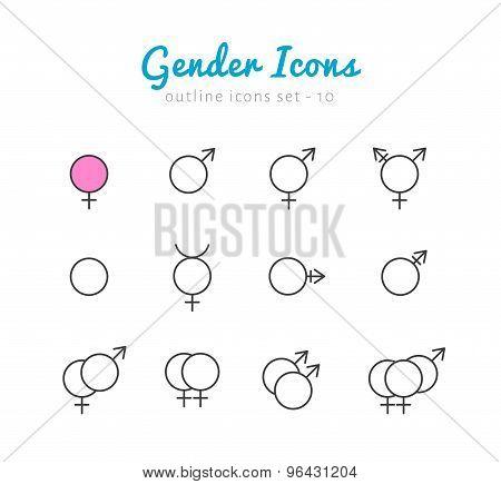 Gender icon set