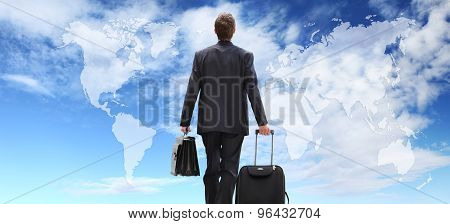International businessman travel with trolley global business concept