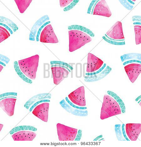 Seamless watermelon watercolor painted hand made fruit illustration background pattern