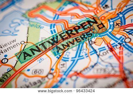 Antwerpen City On A Road Map