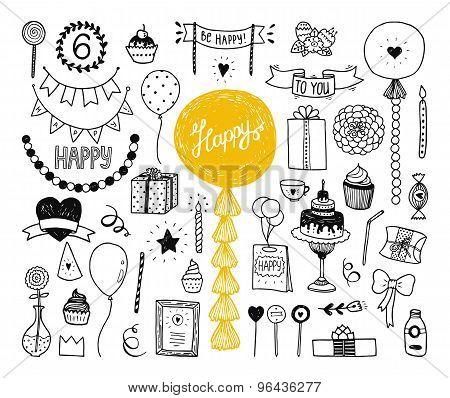 Hand Drawn Happy Birthday Collection