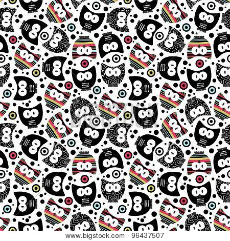 Cute Seamless Pattern With Funny Owls