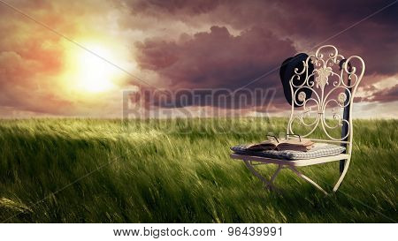 Green Meadow With Chair, Old Book, Glasses, Hat And Umbrella