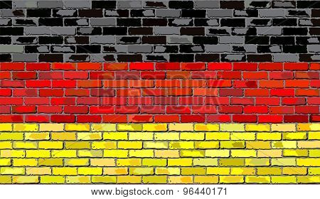 Grunge Flag Of Germany On A Brick Wall