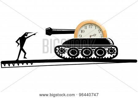Tank with clock