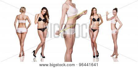 Young girl measuring waist