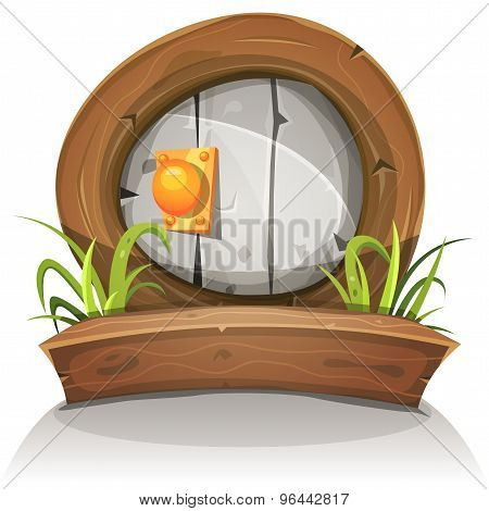 Cartoon Wooden And Stone Rounded Door For Ui Game