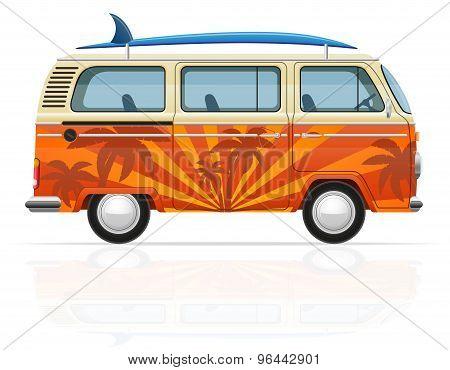 Retro Minivan With A Surfboard Vector Illustration