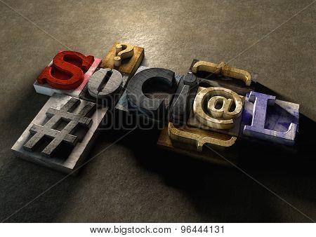 Wooden Printing Blocks Form Word 'social'