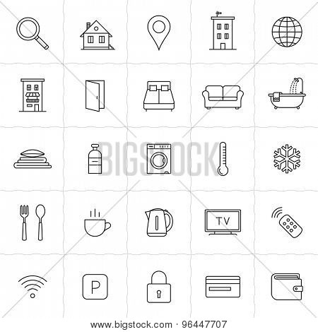 Rent out lodging and accommodation booking icon set. Vector illustration