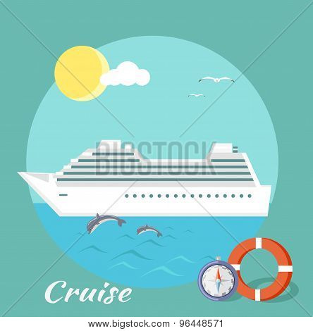 Cruise ship in blue water with dolphins. Water tourism. Icons of traveling, planning summer vacation, tourism. For web banners, marketing and promotional materials, presentation templates poster