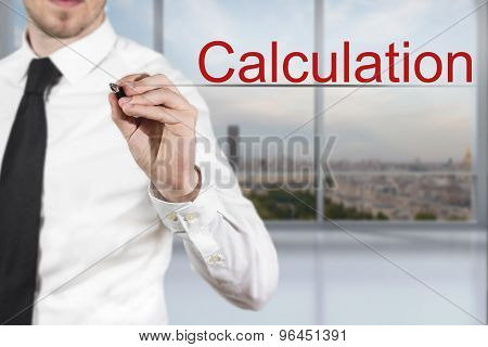 Businessman Writing Calculation In The Air