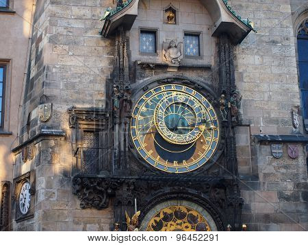 Prague, Czech Republic - April 19, 2015: The Clock On The Tower Close-up On The Main Square Of Stare