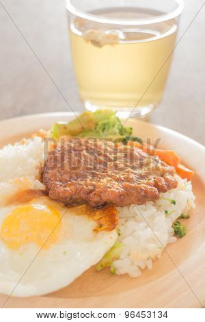 Rice With Hamburg Steak And Fried Egg