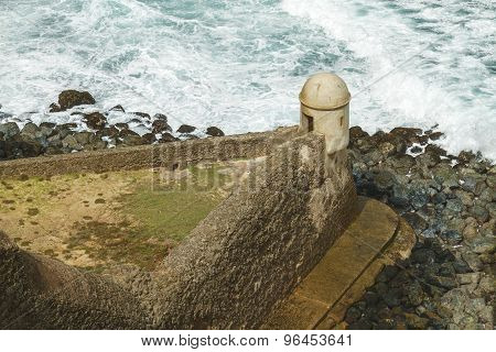Setry Box Overlooking Atlantic Ocean At El Morro Fortress, San Juan, Puerto Rico