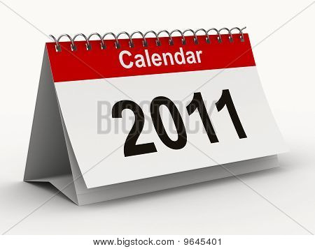 2011 Year Calendar On White Backgroung. Isolated 3D Image
