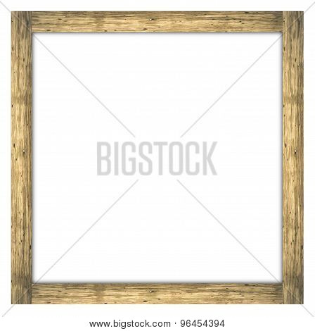 Antique wood frame on white background space copy