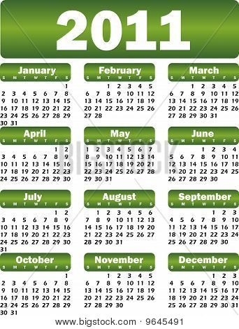 Calendar For 2011 Green