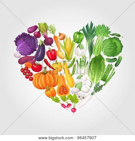 Heart of vegetables. Healthy food vector illustration background.